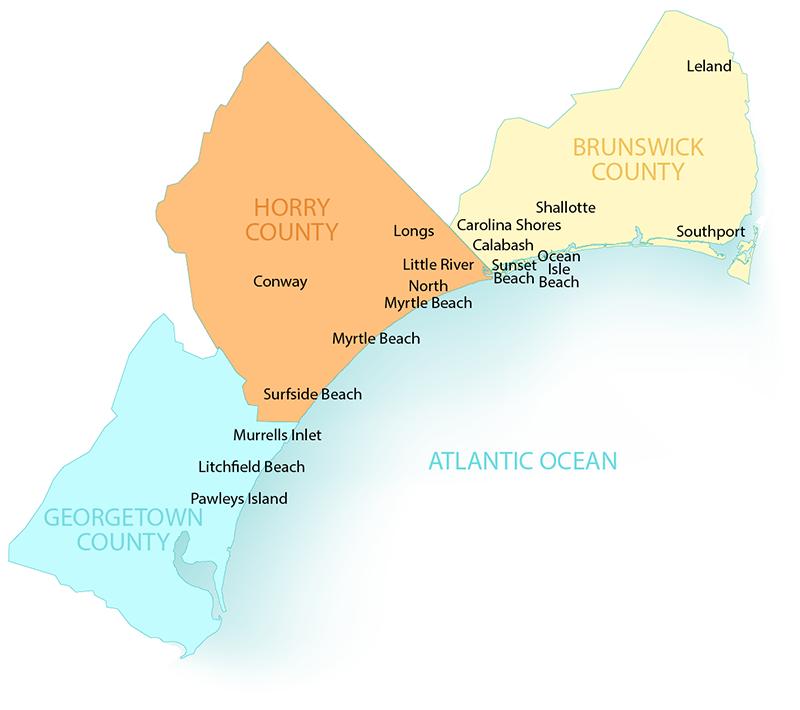 Pawleys Island South Carolina Map.Grand Strand New Home Guide Areas Of The Grand Strand